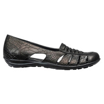 Calzado Dama Mujer Guaracha Base Goma Cuero Negro Tipo Croco