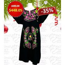 Vestido Mexicano Arte Bordada Tradicional Colores Varios