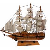 Barco Grande Madera Hecho A Mano Modelismo Naval 40x36x9cm