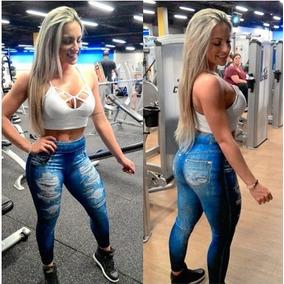 Legging Jeans Imitação Rasgado Feminina Fake Atacado