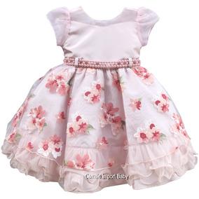 Vestido De Festa Luxo Infantil Floral Daminha Com Tiara