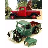 Auto Camioneta 1:24 Ford Pickup Año 1937 Rojo Verde Motormax