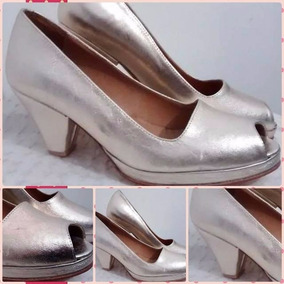 Huma10 Zapatos De Taco Fiesta Talles Grandes Platino B/p
