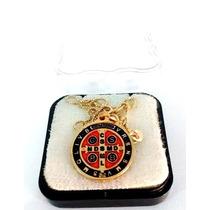 Colar Folheado A Ouro Com Medalha De São Bento Dourada