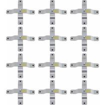 Kit 12 Suporte Para Refletores Pe De Galinha Pequeno Prata