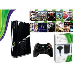 Xbox 360 Slim 4gb + 10 Jogos Em Disco + Acesso A Internet