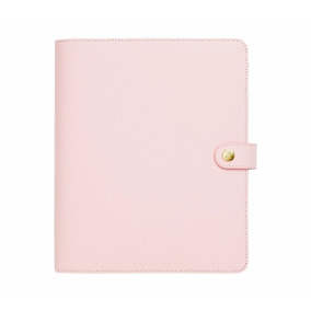 Kikki K Pink Leather Large Planner Agenda Rosa Couro