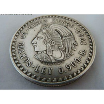 Moneda Decorativa Cinco Pesos Cuauhtemoc Replica Mexico 1947