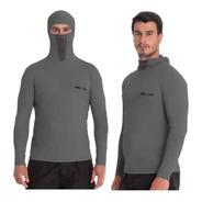 Camisa Proteção Uv Ninja Cinza Chumbo Pesca Protege À Inseto