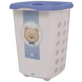 Kit Cesto Para Roupas Urso Boy 38l + Prato Urso Boy