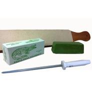 Kit De Afiar Facas Canivete Da Roca Chaira Strop Couro Pasta