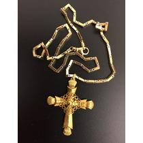 Corrente De Ouro Amarelo/branco E Crucifixo 40,2g Ouro18k