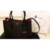 Bolsa Prada Original Double Bag Em Couro Legitimo Luxuosa