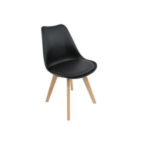 Cadeira Jantar Assento Estofado Base Madeira - Preta