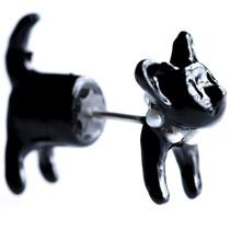 Lindo Arete Forma De Gatito Con Collar Color Negro M1069