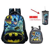 Mochila Batman Bat Sinal Xeryus M- 5393 + Lanch.batman 5394