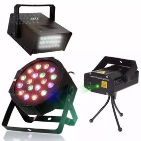 Kit Iluminação Dj Festa Canhão 18 Led Strobo Projetor Laser