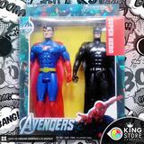 Set 2 Personaje Superman Y Batman 25 Cm Con Luz Integrada