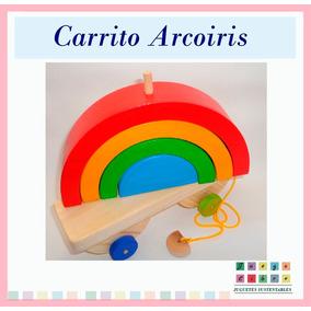 Carrito Arrastre Arcoiris Encastre Montessori Waldorf Bebe