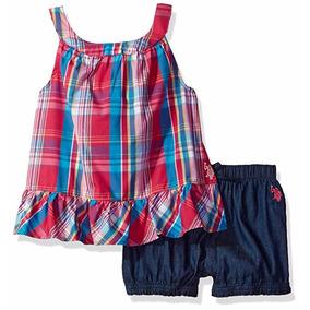 Musculosa Y Short De Jeans Polo Importada Nena