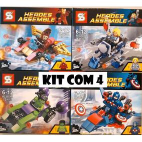 Kit 4 Lego 325 Pc Compatível Thor Hulk Homem Ferro Capitão