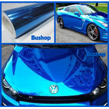 Vinilo Cromado Moldeable Con Calor Azul Auto Moto Tuning