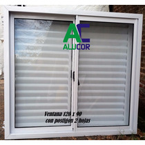 Ventana De Aluminio 120 X 90 Con Postigon Reforzado