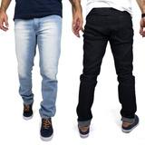 Kit Com 2 Calças Jeans Masculinas Slim Com Elastano Baratas