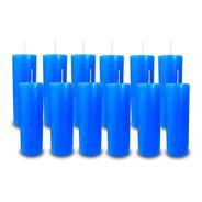 Kit 12 Velas Votivas 7 Sete Dias Colorida Azul