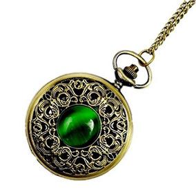 Cuarzo Reloj De Bolsillo Antiguo Wzc Esmeralda Para Mujeres