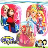 Morral Bolso Escolar 3d Frozen Cars Princesas Sofia Ben 10
