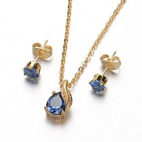 Joyería Acero Inoxidable Collar Y Aretes, Gota Azul Zafiro