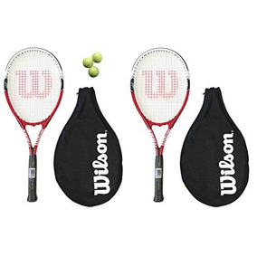 2 X Wilson Federer 110 Raquetas De Tenis L3 3 Pelotas De Te