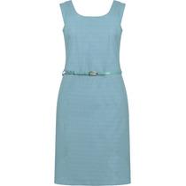 Vestido Feminino Social Cotton Jacquard Seiki Com Cinto Verd