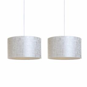 Conjunto 2 Lustres Luminárias De Teto Pendente Silver Avelis