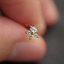Piercing Orelha Cartilagem Tragus Mini Flor C/ Banho De Ouro