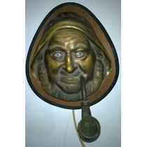 Antiguo Encendedor De Pared, Figura De Marino En Bronce