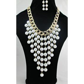 Collar De Moda, Bisuteria Fina, Maxicollar, Perlas