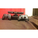 Xbox 360 Negro Original, Con Kinect, 2 Controles Y Un Juego