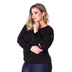 Blusa Plus Size Visco Voil Com Botões