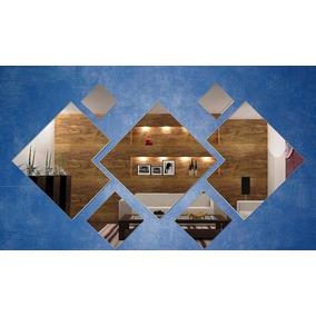 Kit Com 7 Espelhos Decoração Sala- Quadrados Cantos Cortados