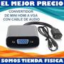 Convertidor Adaptador Mini Hdmi A Vga 1080p + Audio Tienda