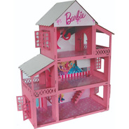 Casa Casinha Boneca Tema Barbie Madeira Mdf Pintado