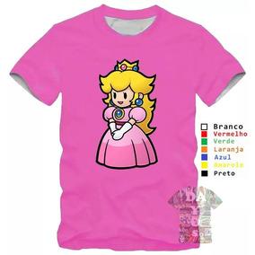 Camiseta Camisa Mario Super Princesa Peach Jogo Algodao