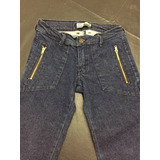 Pantalon Jean Elastizado De Diseño Con Recortes Cintura Alta