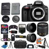 Nikon D3400 Digital Slr Camera 3 Lens Kit Pkt 30 Piezas