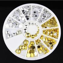 Strass De Unha Tachinha Dourado E Prata + Brinde