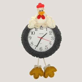Relógios Parede Cozinha Enfeitados Galinha Poá Preto Branco