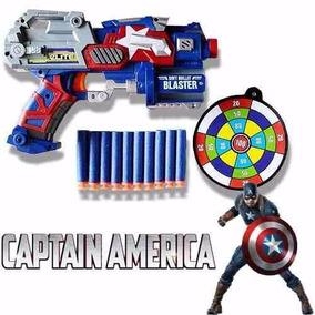 Arma Pistola Lançador Nerf Dardos Capitão America Vingadores