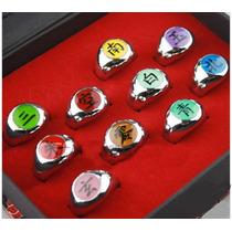 10 Anillos Akatsuki + Cadena Naruto Shippuden Collar